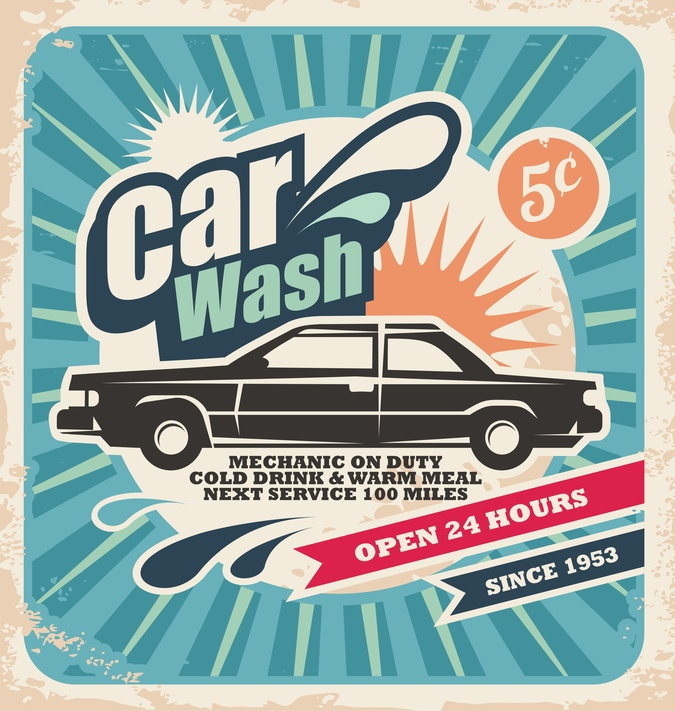 Retro car wash poster